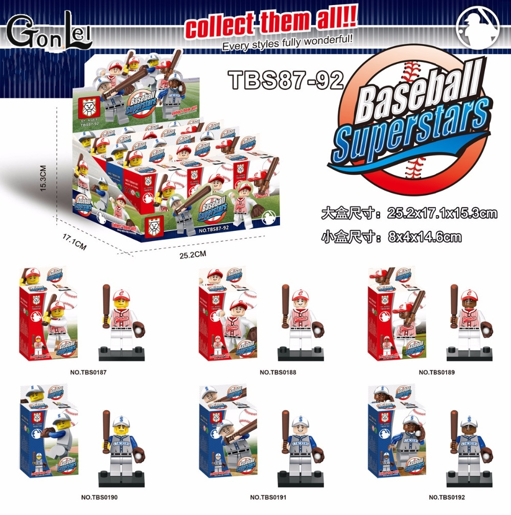 GonLeI 6pcs/lot marvel avengers super heroes Baseball with mobilization Collection Building Blocks action Baby toys Lepin