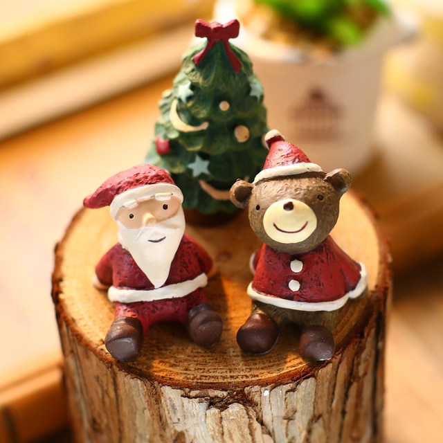 zakka 1pc resin mini christmas animals figurine xmas tree statue santa ornament deer miniature mini snowman home christmas decor