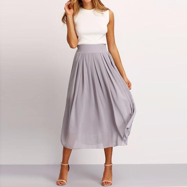 f658e9102979 Modest Elegant Chiffon Skirts Women Custom Made Zipper Waistline A Line Tee  Length Midi Skirt Pleated Casual Skirt