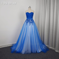 Sweetheart Blue Prom Dresses A line Tulle Full Lining Lace Appliqued Beaded Party Dresses Special Occasion Custom Made 201705103