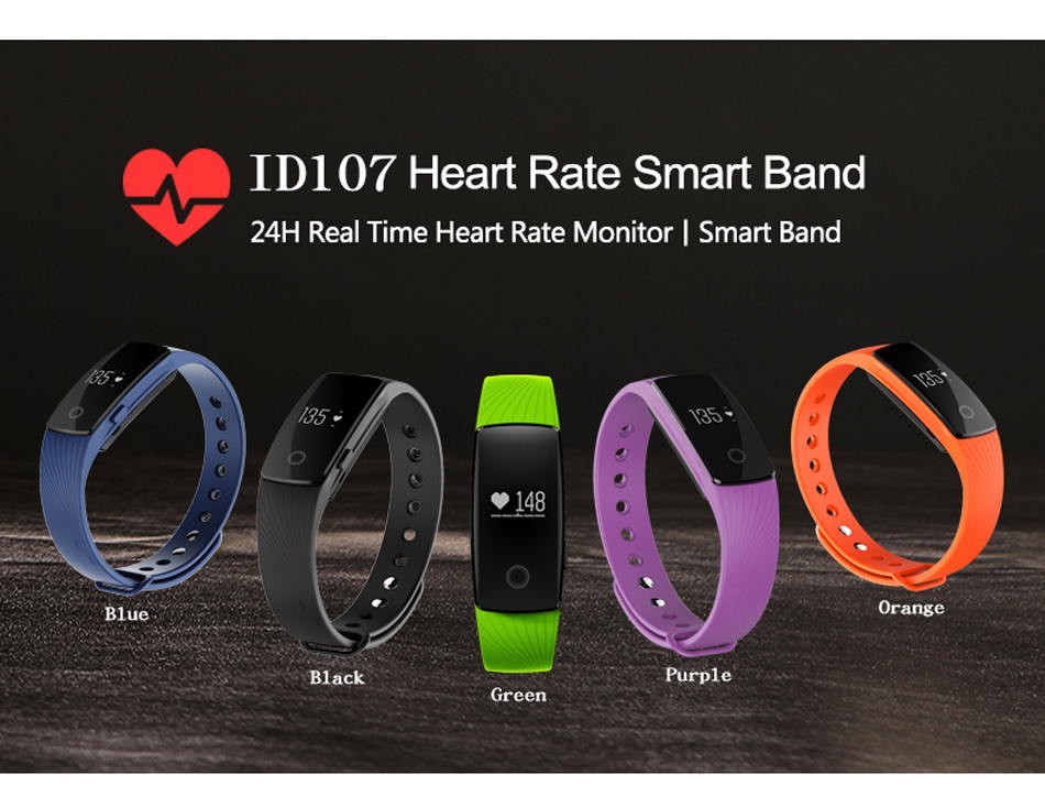 Makibes ID107 Smart Bracelet BT4.0 Heart Rate Monitor Smartband Pulse Sports Fitness Tracker for Android iOS 1