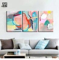 Muya رخيصة الحديثة لوحات تجريدية اللوحة الزخرفية اليد رسمت قماش النفط الطلاء 3 قطعة جدار غرفة المعيشة