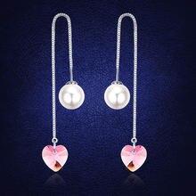 Женские серьги с кристаллами в виде сердца anngill длинные имитацией
