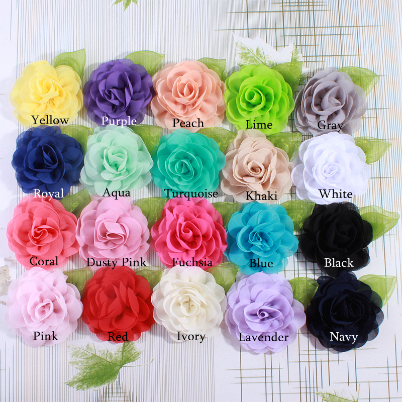 120PCS 8.5CM Big Beauty Green Leaf Chiffon Flowers For Hair Clips Petals Poppy Fabric Flower For Hair Accessories You pick Color