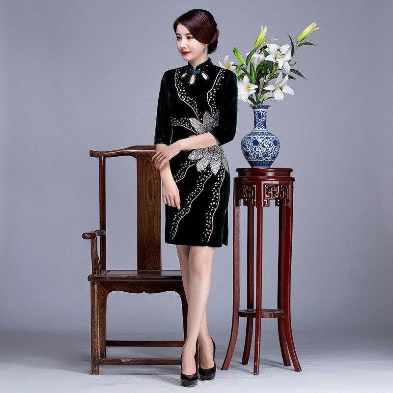 2017 automne femme perle velours vert Cheongsam chinois robe robes de soirée pour les femmes Qipao robes décontracté Oriental robe chine
