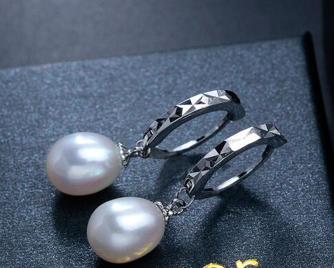 Selling Jewelry>>Brand New Arrival Amazing Elegant Super Big Black Pearl Earrings For Women 925 Sterling Silver Earrings Gift