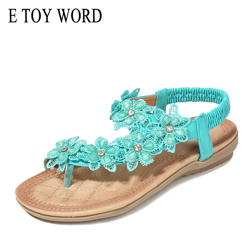 TOY WORD Sandals women 2019 New Casual fashion large size 42 womens summer shoes flowers comfortable soft Beach Women shoes in Women 39 s Sandals from Shoes
