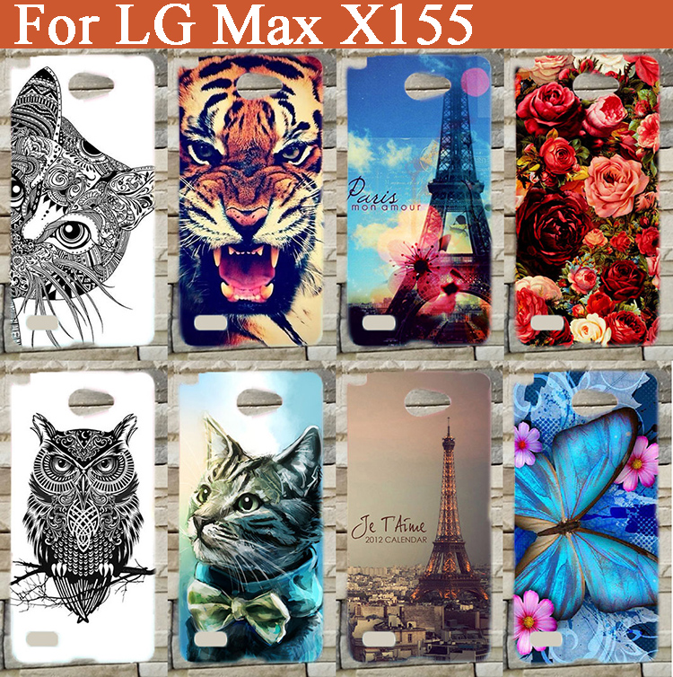 For <font><b>LG</b></font> Bello II 2 / Prime II / <font><b>LG</b></font> <font><b>Max</b></font> <font><b>X155</b></font> Phone Case With Painting Colored Tiger Lion Owl Rose Eiffel Tower Cover Sheer Bags image