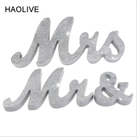 HAOLIVE Wooden MR & MRS Wedding Shiny Silver Letters DIY Party Ornaments Wedding Table Crafts For Wedding Party Anniversary