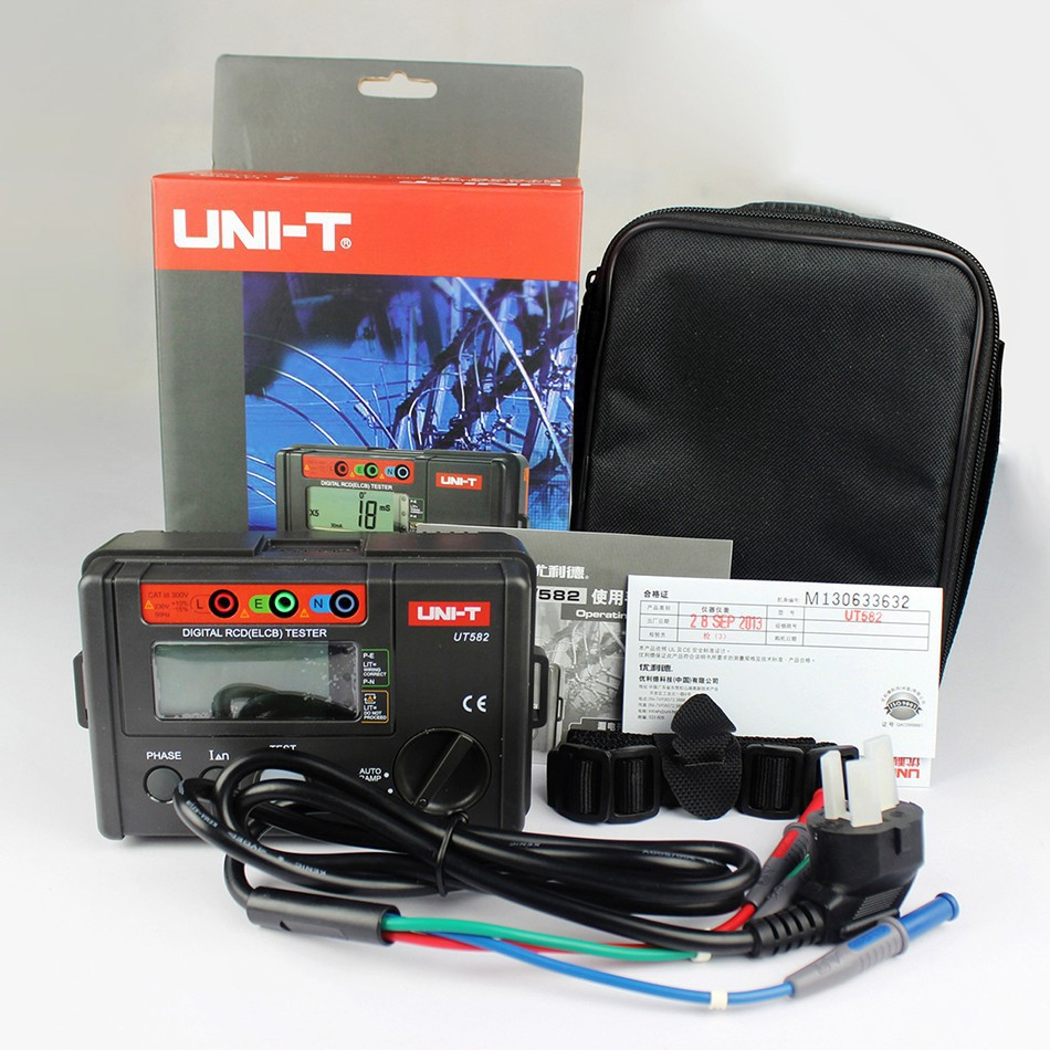 Fast arrival UNI-T UT582 Digital RCD ELCB Testers meter AUTO RAMP Leakage Circuit Breaker abb leakage circuit breaker abb switch leakage current gsh204 c40