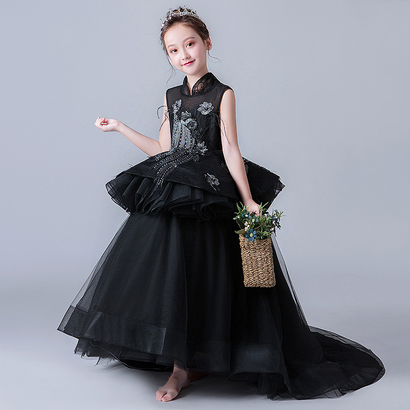 Luxury Black Evening Gowns Embroidery Appliques Flower Girl Dresses Stand Collar Backless Ball Gown Kids Pageant Dress Birthday