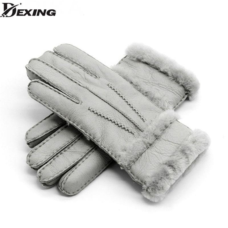 Winter Woolen Gloves Women Gloves Real Sheepskin Fur Warm Gloves Elegant Ladies Full Finger Genuine Leather Gloves