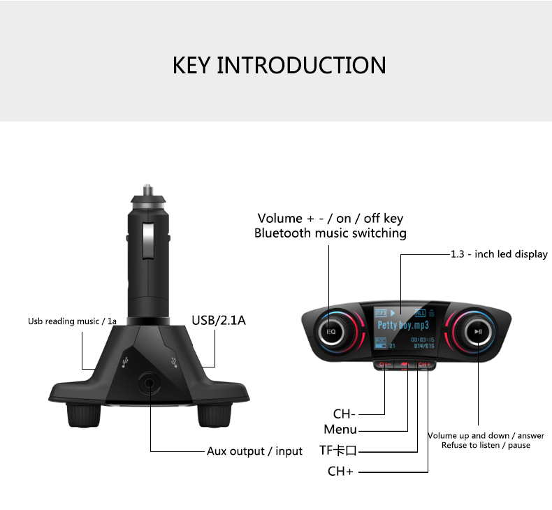 ANLUD FM Transmitter Bluetooth Handsfree Car Kit Aux Modulator Radio FM Car Audio TF AUX MP3 Player (15)