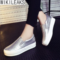 Wikileaks 2016 Mulheres Sólidos Casual Loafers Shoes Low Top Planas Com Heavy-Fundo Slip-On de Couro PU costura Sapatos Brancos