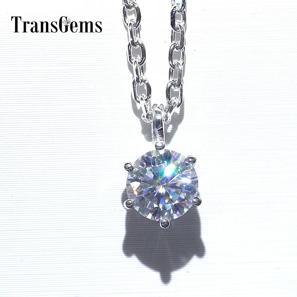 TransGems 0.5 ct Carat 5 MM Lab Grown Moissanite Diamant Solitaire Glisser Pendentif 14 K 585 Or Blanc Pendentif pour femmes