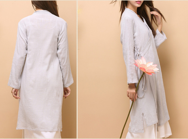 48cc7cdba9 Women Lady Loose Fit Coat Dress Linen Cotton Chinese Cheongsam Out Fit  Costume Top Long Sleeve-in Cheongsams from Novelty   Special Use on  Aliexpress.com ...