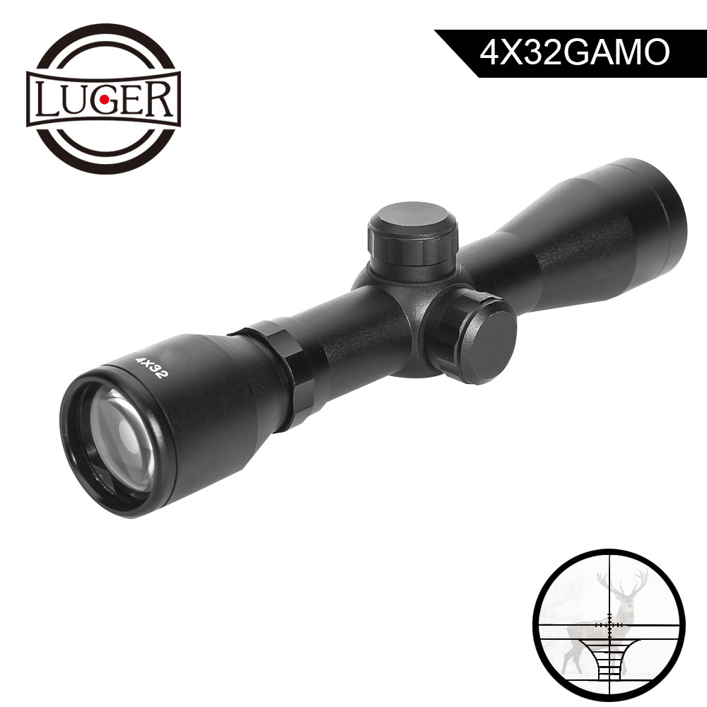 LUGER 4x32 Short Hunting Riflescope Outdoor Airsoft Air Gun Rifle Tactical Scopes Reticle Compact Optics Sight Scope