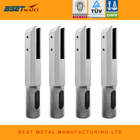 4 Pieces Satin Polish Duplex 2205 Stainless Steel Square Core Drill Glass Spigot For Frameless Glass