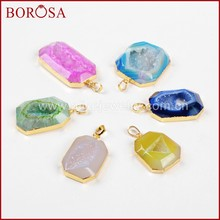 BOROSA Clearance Sale 5/10PCS Rainbow Octagon Gold Color Agates Druzy Geode Slice Pendant Beads Drusy Pendant Jewelry G0522(China)