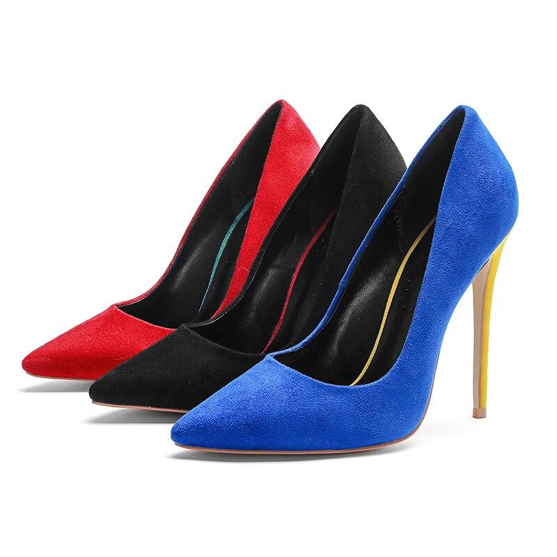 Mode Parti De Des Nouveau Femmes Sur Talons Chaussures Noir Flock Stiletto Pointu rouge Sexy bleu 2018 Peu Pompes Bout Glissement Profonde Wetkiss TwqUp44