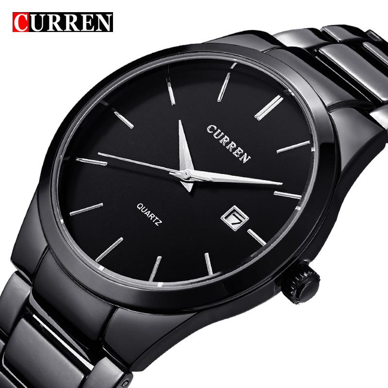 Prix pour 2016 Nouveau Curren quartz Tag Noir plein acier Vogue Casual montre Hommes D'affaires Mâle Relojes hombre Simple Montre-Bracelet cadeau