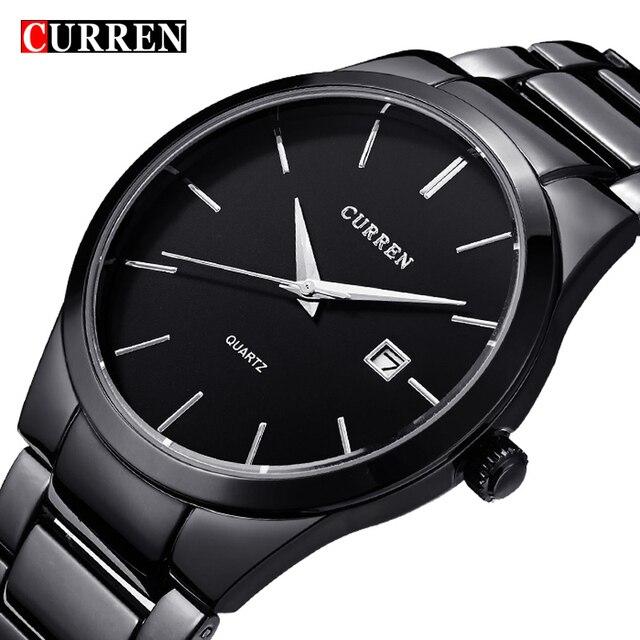 Nouveau Curren quartz Tag Noir complet en acier de la Mode Montre À Quartz Hommes D'affaires Mâle Relojes hombre Simple Casual Montre-Bracelet cadeau