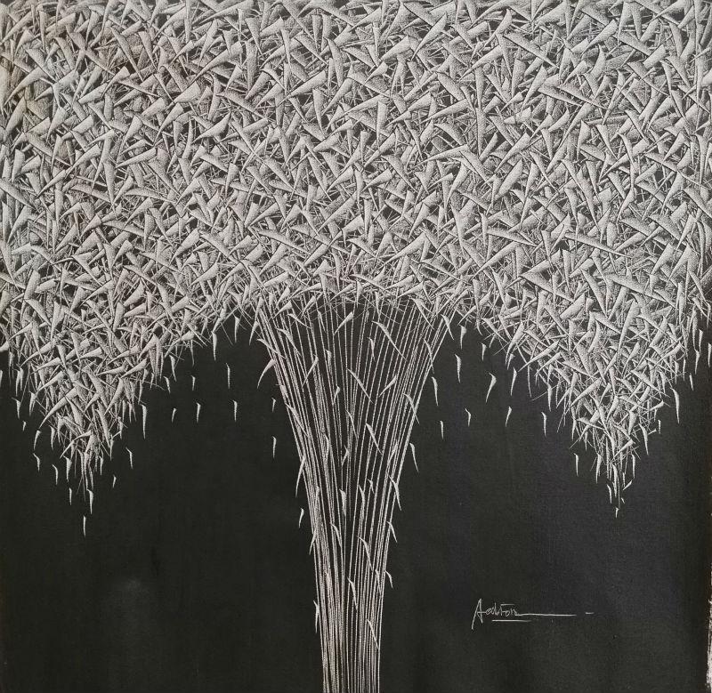 Ručně malované olejomalba na plátně Moderní abstraktní Banda listů Malba na plátně Nástěnná malba na obrazy pro obývací pokoj