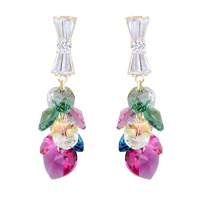 2 couleurs bijoux de mode Swarovski élément cristal boucle d'oreille gouttes coeur boucle d'oreille pour les femmes balancent grandes boucles d'oreilles dames