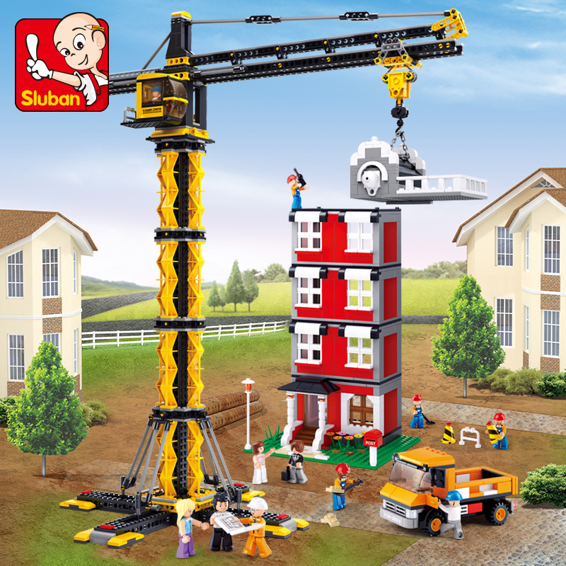 Model building kits compatible with lego city Engineering Tower cranes 3D blocks model building toys hobbies for children lepin 02012 city deepwater exploration vessel 60095 building blocks policeman toys children compatible with lego gift kid sets