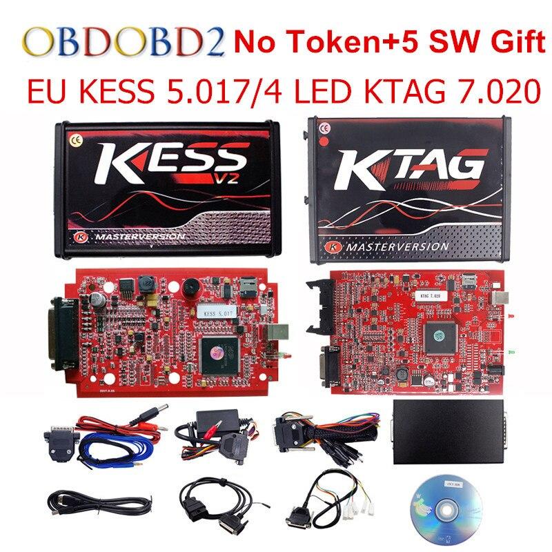 Master Online EU Rot KESS V5.017 KESS V2 5,017 Kein Token KTAG V7.020 Obd2-manager Tuning Kit K-TAG 7,020 V2.23 ECU Programmierer