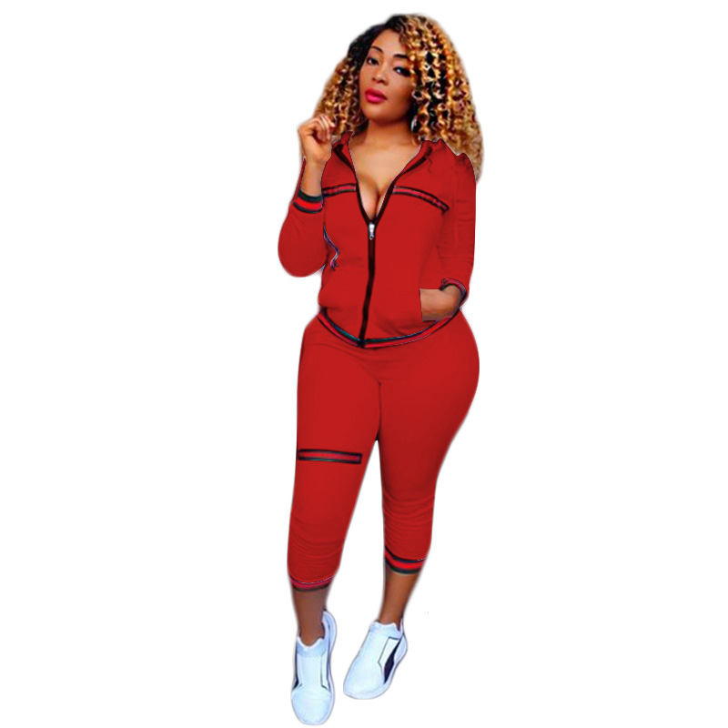 2017 Red new Women Long Sleeve zipper Top Jacket and Pants Jumpsuits pocket 2 Piece Suit Set Outfits Sexy Women clubwear T032