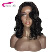 Carina Hair Natural Black Color Body Wave Brazilian Remy 100 Human Hair 180 Density Lace Front