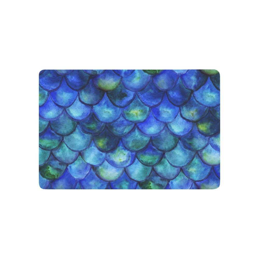 Abstract Art Anti-slip Door Mat Home Decor, Watercolor Mermaid Scales Indoor Outdoor Entrance Doormat Rubber Backing