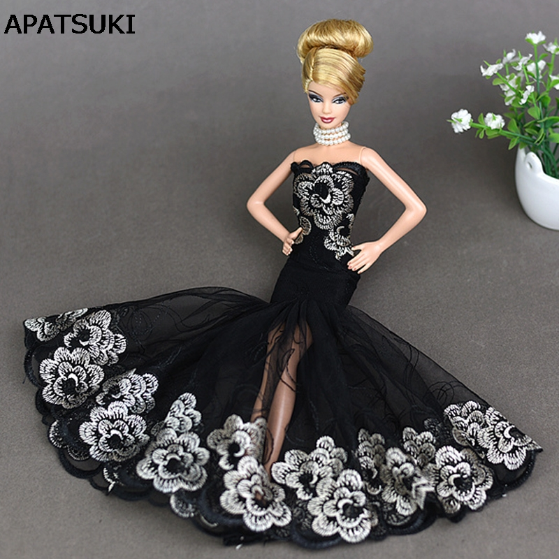 Doll Black Little Dress Costume Elegant Lady Fishtail Dress For Barbie Doll Dress Clothes For 1/6 BJD Mermaid Dresses Gift Toy sweetie chocolate mousse european retro outfit dress suit for bjd doll 1 6 yosd doll clothes lf9