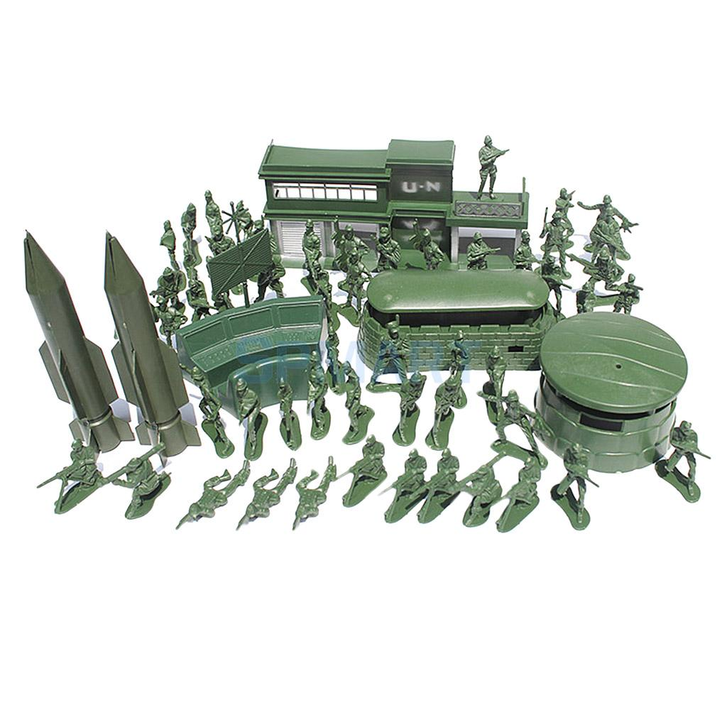 56 Pieces Military Playset Army Men Action Figures 5cm WWII Soldiers /& Accs