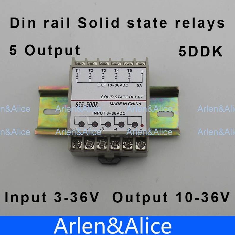 5DDK 5 Channel Din rail SSR quintuplicate five input 3~36VDC output 10~36VDC single phase DC solid state relay 1pc 10da 5 channel din rail ssr quintuplicate five input 3 32vdc output 24 380vac single phase dc solid state relay 10a plc hot page 5