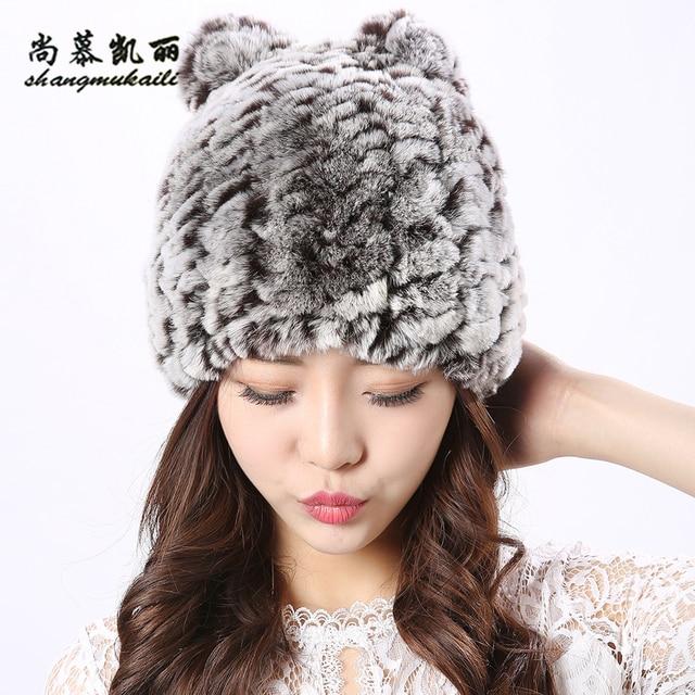 4 colors Cat Hat Winter fur cap Women Genuine Real Fur Rex Rabbit Hats Hand  Knitted Female Beanie Hats Ladies Ear Caps Headwear 34ec36474a8