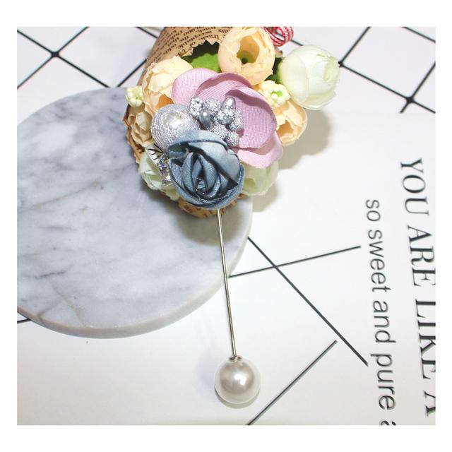 Flores de tecido broche longas com mulheres 2016 ZHONGLV seamline corsage subiu pérola broches para os homens vestido de casamento jóias ZA