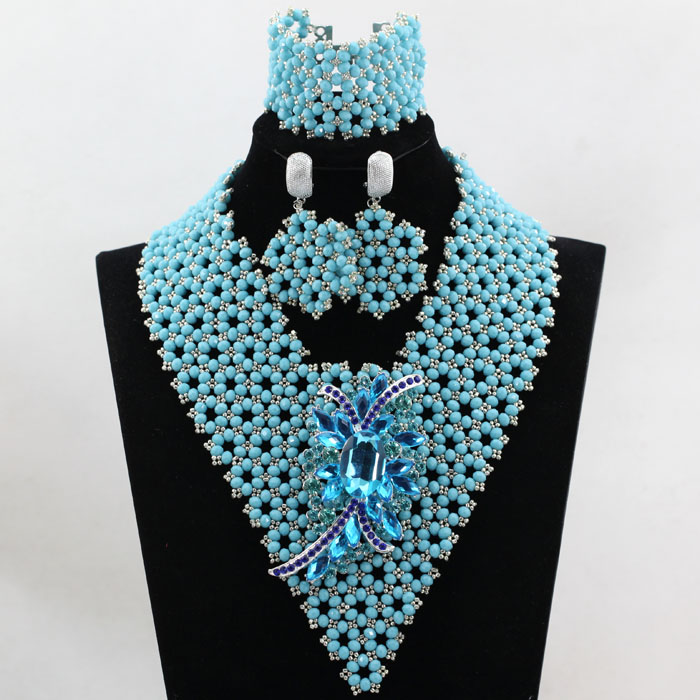 African Crystal Necklace Wedding Beads Jewelry Set Handmade Nigerian Bridal Statement Necklace Free shipping QW244