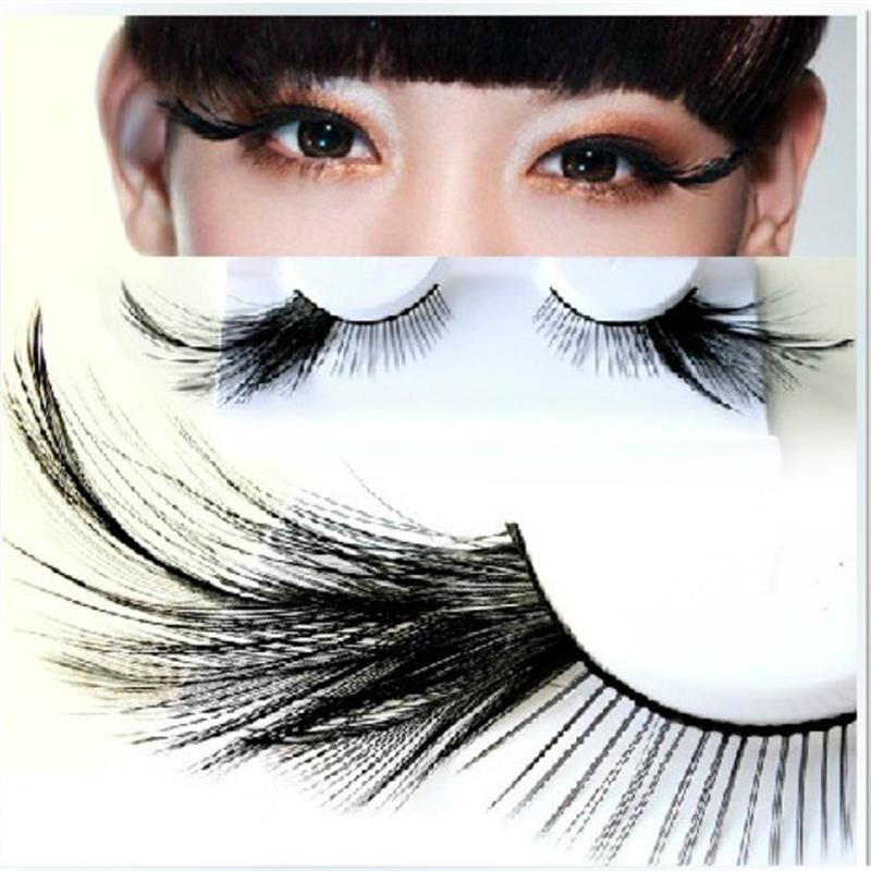 1 Pairs Black Feather Stage Exaggerated False Eyelashes Party Masquerade Nightclub Natural Long Full Strip Eye Lashes YM77
