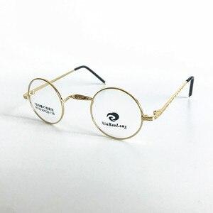 Image 4 - בציר קטן 40mm עגול משקפיים מסגרות מתכת שפה מלאה אופטי יוניסקס משקפיים