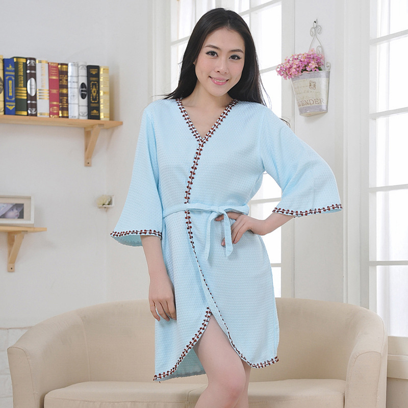 Sexy women bathrobe bamboo fiber nightgown ladies nightdress girls sleepwear cool summer lovers long soft home hotel ...