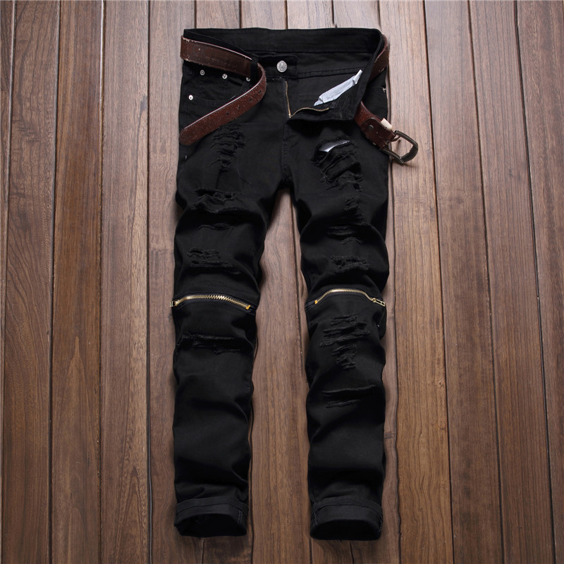 2016 New Fashion Mens Black Colour Ripped Stretch Jeans Slim Fit Pencil Biker Jean Trousers With Holes And Zipper Famous Brand 2017 fashion patch jeans men slim straight denim jeans ripped trousers new famous brand biker jeans logo mens zipper jeans 604