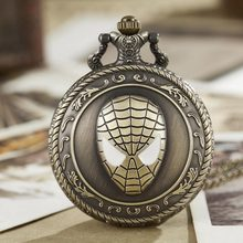 Человек-паук цепочки для карманных часов ожерелье супер герой кварцевые карманные часы в стиле «стимпанк» ретро кулон мужские дети подарки Reloj de Bolsillo