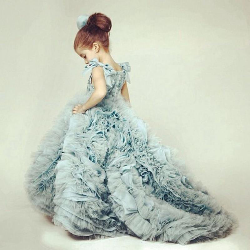 Beauty Ball Gown Flower Girl Dresses Long Train Elegant Gilrs