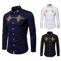 Men's Long Sleeved shirt 2018 Fashion brand Court wind embroidered Turn down collar men shirts Casual shirts EU/US large size