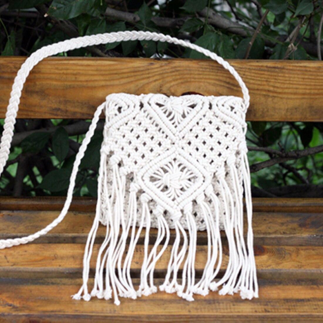 2018 Hot Wind Cotton Thread Knitting Cross-body Bag Single-shoulder Bag with Tassels For Women Female Travel