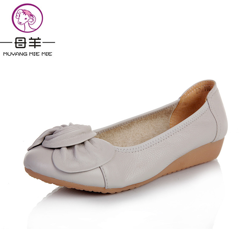 MUYANG Chinese Brands Plus size(34-43) women genuine leather flat shoes First layer of cowhide casual single shoes women flats vintage embroidery women flats chinese floral canvas embroidered shoes national old beijing cloth single dance soft flats