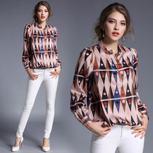High Quality Women Floral Print Polo Blouse Tops Blouse Female 2017 Summer OL Women s CHIFFON
