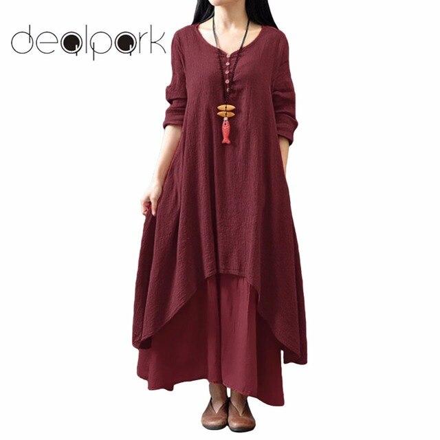 בתוספת גודל 3XL 4XL 5XL כותנה ארוך שמלת נשים מקסי שמלת 2019 קיץ שווא שני חלקים ארוך שרוול סדיר גלימה נשי גדול